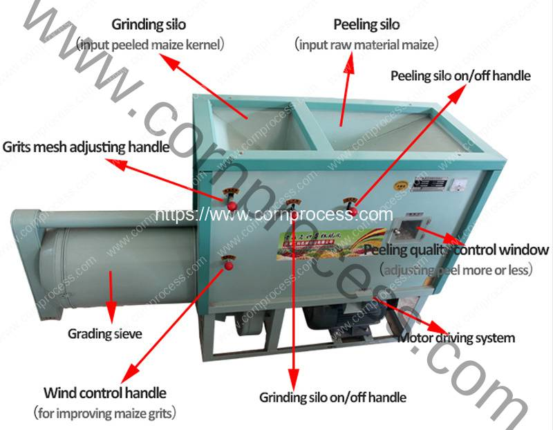 Automatic-500KGH-Corn-Peeling-and-Corn-Grits-Grinding-Machine